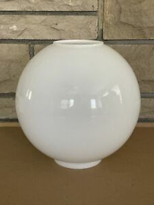 """Vintage 10"""" GWTW White Round Ball Hurricane Oil Glass Lamp Shade Replacement"""
