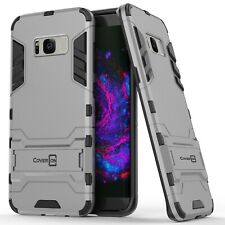 for Samsung Galaxy S8 Phone Case Armor Kickstand Slim Hard Cover Silver