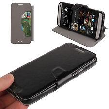 Book Tasche für HTC One (M7) in schwarz mit Aufstellfunktion
