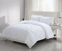 3pcs White Pintuck Pinch Pleat Washed Microfiber Down Alternative Comforter Set