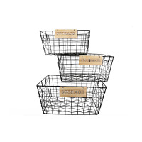 Rectangle Black Retro Wire Storage Baskets S/M/L/Full Set