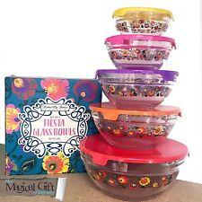 Temerity Jones Glass Picnic Party Food Prep Storage Bowls with Lid Set 5 Retro