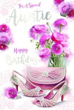 For A Special Auntie Bags Shoes Vase & Flowers Design Happy Birthday Card