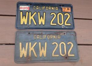 Vintage California Black & Gold License Plates 1963-1969 Years WKW 202 DMV CLEAR