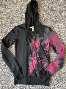 Abbey Dawn Pink/Black Asymmetrical hoodie Size X-SMALL W/headphones Gently Used