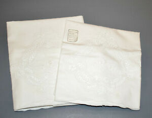 Pair Cotton Embroidery & Battenburg Lace Standard Pillowcases New