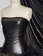 Lucci Fog Foil Stretch Jersey Fabric Black Silver Q926 BKSLV