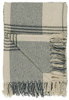 IB Laursen Plaid Creme Blau Karo Muster Decke Baumwolle 130x160 Wolldecke