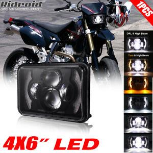 "For Suzuki DRZ250 DRZ400S DRZ400SM 4x6"" LED Headlight Hi-Lo Beam DRL Head Lamp"