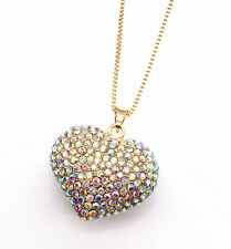 14K Yellow Gold Plated AB Crystal Rhinestone Heart Love Pendant Sweater Necklace