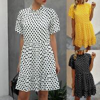 ❤️ Women's Summer Short Sleeve Ruffle Smock Dress Ladies Polka Dot Beach Dresses