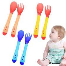 2pcs/set Baby Flatware Utensils Set Temperature Sensing Feeding Spoon Fork