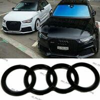 Black Glossy Front Grille Badge Rings Logo Emblem Audi S6 A6 Q3 Q5 Q7 285x99mm