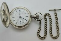 Antique Working 1883 HAMPDEN Victorian Coin Silver Full Hunter Pocket Watch 18s