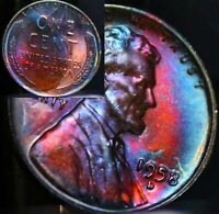 UNCIRCULATED 1958 D BU (33h) VIBRANT Rainbow MONSTER Toned Penny Wheat Cent