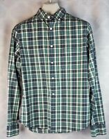 Gap S Mens Shirt Plaid Aqua Blue Green Button Up Front Long Sleeve Checked Small