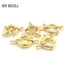 Jewelry Making 1- Strand Gold Plated Spring Ring Spring Clasp 14mm 5 Pcs