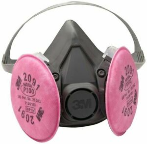 3M 6200 Half Facepiece Respirator W/ 3M 2091 P1OO Filter Cartridge, Size: MEDIUM