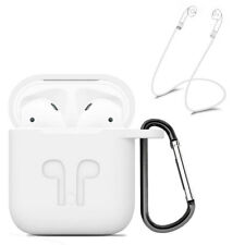 White Strap Holder & Silicone Rubber Case Cover For Apple Airpods Accessories