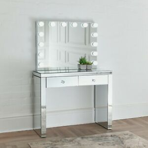 Niches Vanity SET LITE – Mirrored 2 Drawer Dressing Table + LED Hollywood Mirror