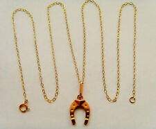 9ct Gold Lucky Horse Shoe Pendant Complete With Chain