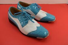 Expressions EX6345 Men's Turquoise White Faux Satin Striped  SIZE 9