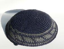 """Crochet KIPPAH Knitted Yamaka Yarmulka Blue Kippa Jewish Hat 6"""" Head Cover Cap"""