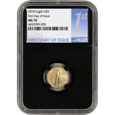 2018 American Gold Eagle (1/10 oz) $5 - NGC MS70 First Day Issue 1st Label Black