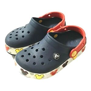 Crocs Disney Mickey Mouse Unisex Boys Size Toddler C11 Navy Red Lights Up