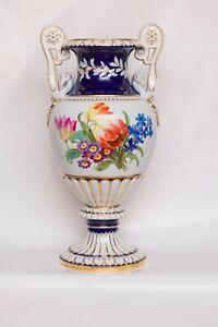 Meissner Porzellan Vase 50cm mit Blumenmuster, Goldverzierung, Schwanengriffen