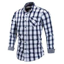 New Mens Casual Long Sleeves Formal Denim Cotton Plaids Checks Shirts OK6457