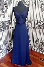 V970W OCCASIONS 5601 S 4 NAVY $299  #3388 V93A FORMAL GOWN DRESS 2 pc top skirt
