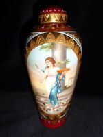 Antique Hand painted Porcelain Royal Vienna Vase signed  Wagner