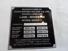 Plaque Signalétique Bouclier Land Rover Id-plate Data 109 PETROL Series 3 III s53