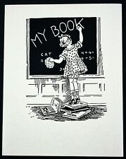 Vintage Antique Etchcraft Bookplate 1930s/40s RARE Child and Chalkboard