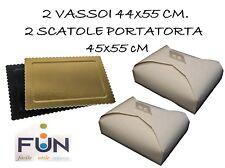 VASSOIO RETTANGOLARE CARTONE ORO 2 DA 44X55CM PIU' 2 SCATOLA PORTA TORTA 45X55CM