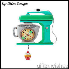 Gorgeous Green Cake VINTAGE MIXER Designer Pendulum WallClock Allen Designs