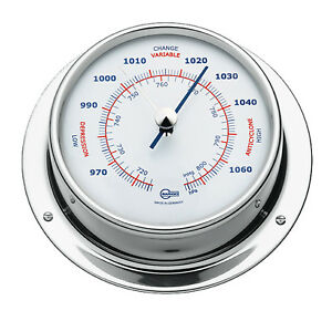 Barigo Maritimes Nautika Bootsport Schiffsbarometer Edelstahl poliert 110mm
