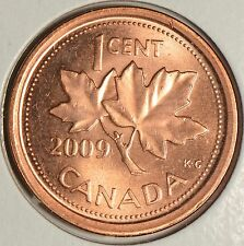 CANADA 1 CENT 2009L non-magnetic -slightly circulated