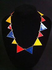 FASHION Chunky BIB STATEMENT Rainbow Triangle Spike Bunting Choker Necklace