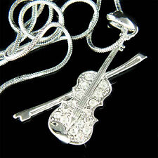 w Swarovski Crystal MUSIC Fiddle ~VIOLIN~~ VIOLA Bow Pendant Chain Necklace XMAS