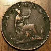 1893 UK GREAT BRITAIN VICTORIA FARTHING COIN