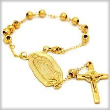 Brazalete de Rosario de 6mm Cuentas de oro  Cruz  Guadalupe y San Benedicto