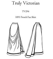 Ladies' Truly Victorian 1891 French Fan Skirt sizes 0-26 Sewing Pattern TV294
