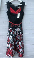 NEW Lindy Bop Size 8 Ophelia Black Rose Dress Red Belted 1950s 40s Rockabilly