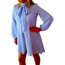 blue dress tie neck-pussy bow FLARED SWING DRESS   uk  8 eu 36