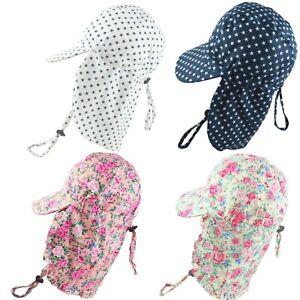 Kids Sun Hat With Neck Flap Legionnaires Cap Adjustable Size Boys Girls 2-13 Yrs