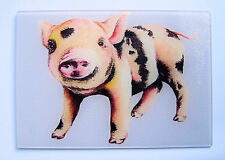 Unique Lilac Glass Chopping Board with a vibrant PIG design by artist Maria Moss