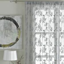 Vintage Style Lace Floral Net Voile Curtain Panel Slot Top Grey Pewter