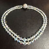 Vintage AB Glass Crystal Necklace 2 Two Strand Princess Choker Aurora Borealis
